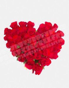 Сердце из 35 роз