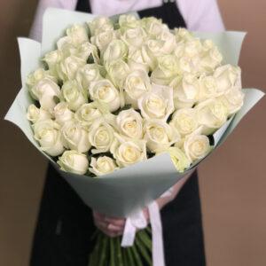 Букет 51 белая роза с упаковкой