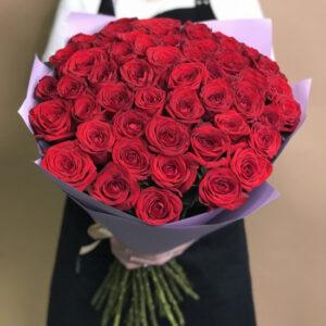 Букет 51 красная роза с упаковкой